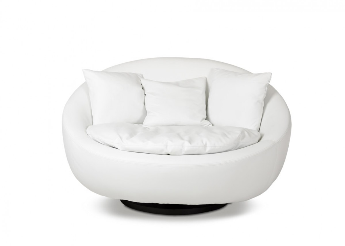 Modern Swivel Round White Leatherette Lounge Chair - Click Image to Close