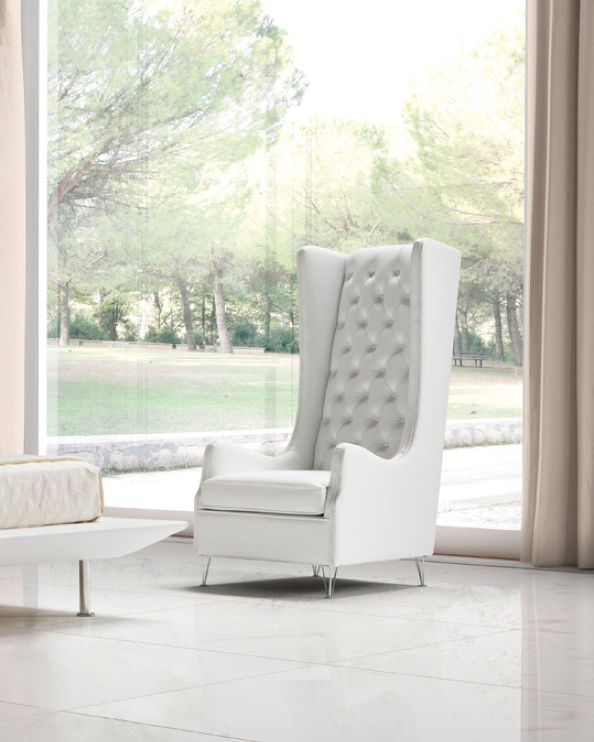 Tufted White Leather Italian Made Accent Chair Columbus