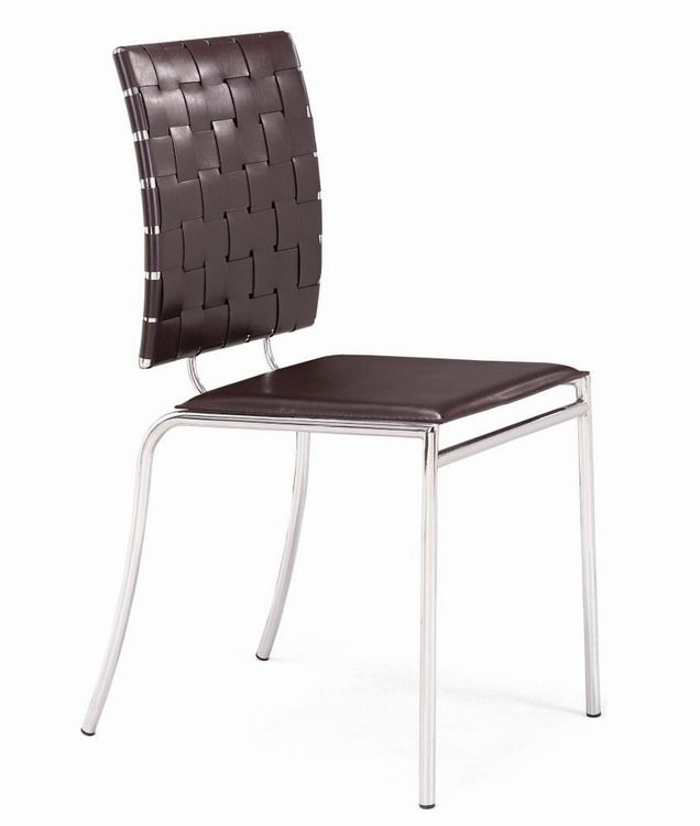 Criss Cross Chair with Solid Flat Seat Leatherette Strap Back