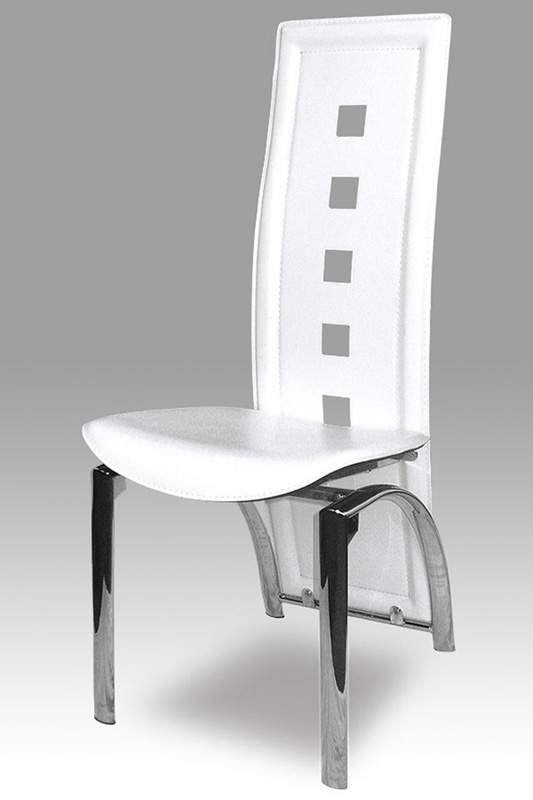 Leather Dining Chair With Contemporary Back and Chrome ...