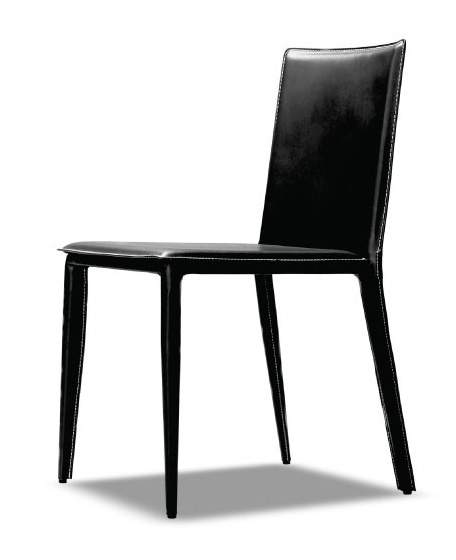 Geometric contemporary leather dining room side chair in for Black leather dining room chairs