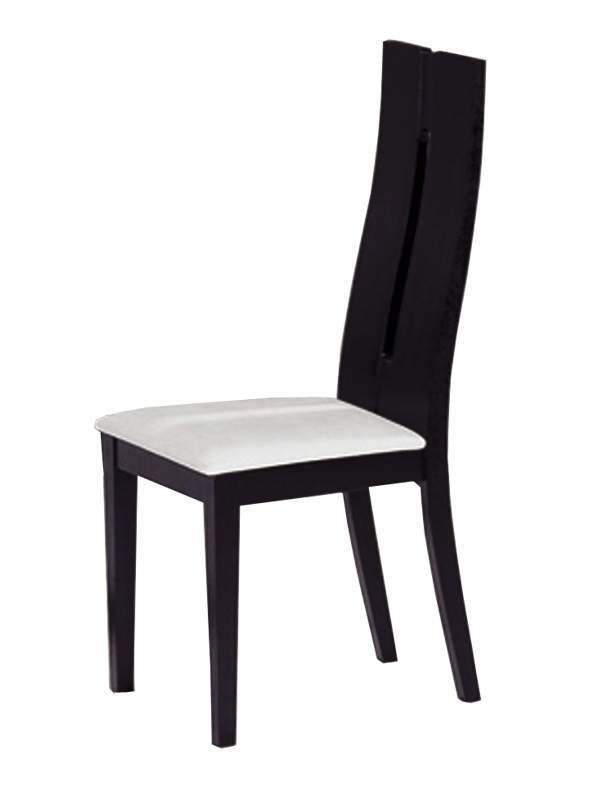 Ultra contemporary black wood dining chair with white for Contemporary white dining chairs