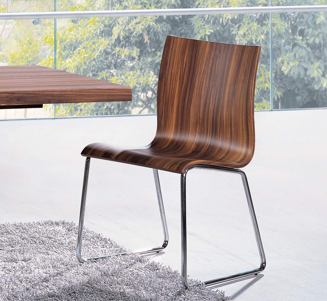 Brown Dining Chair In Natural Brown Colors And Chrome Base