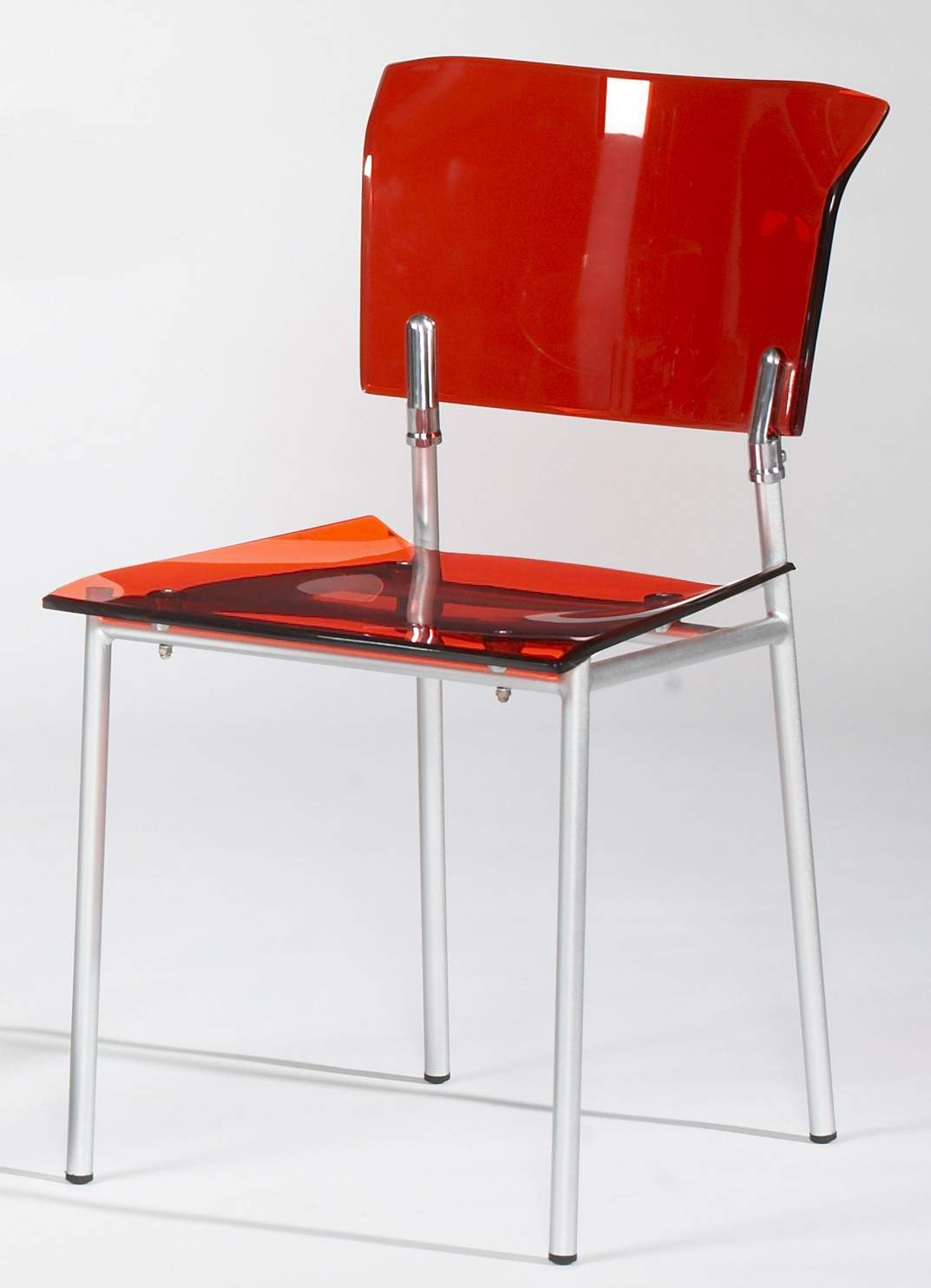 Acrylic Side Chair In Red With Metal Frame Stockton California CHACRYLIC