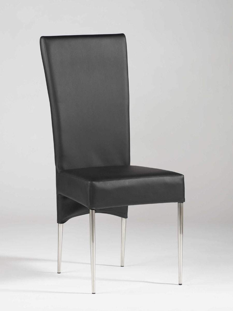 Black leather ultra contemporary dining room chair with for Black leather dining room chairs