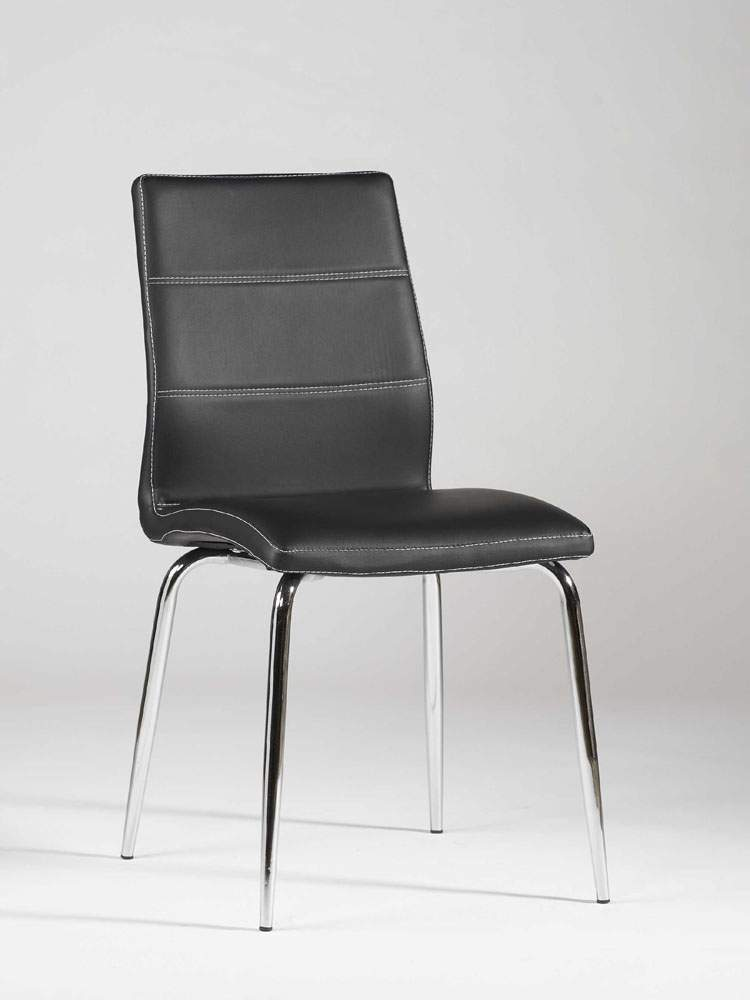 Ultra Contemporary Shaped Dining Chair in Black Leather with Stitching ...