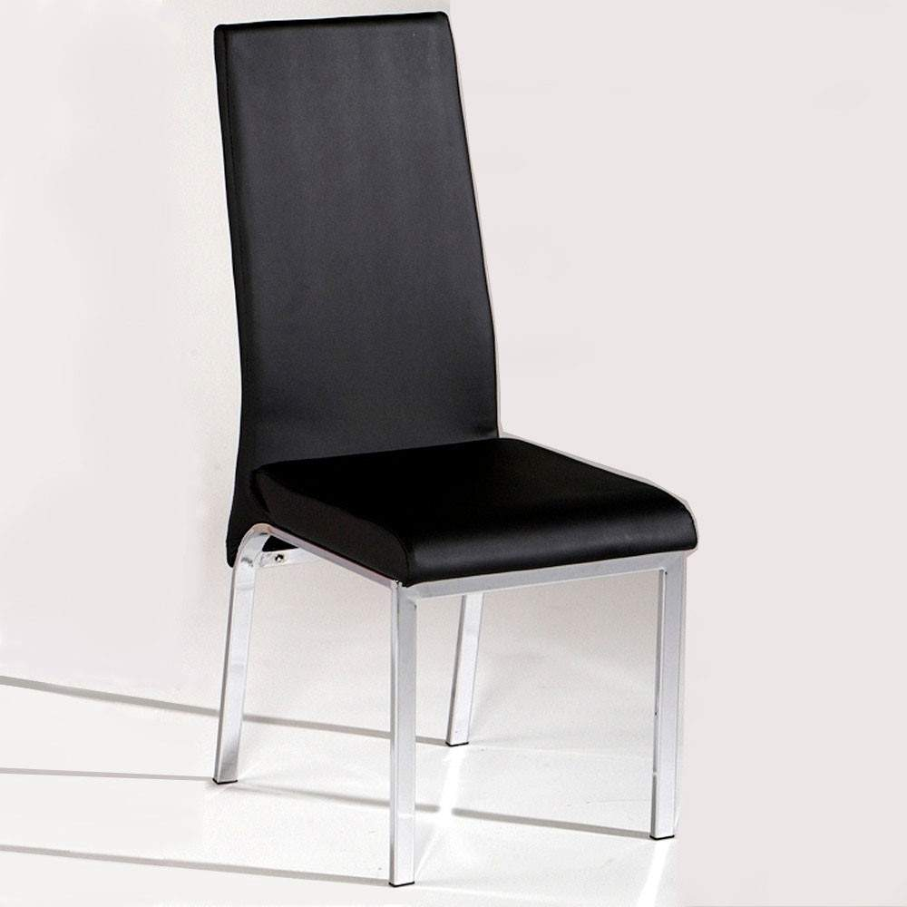 Contemporary black dining chair in leather and chrome for Contemporary furniture dining chairs