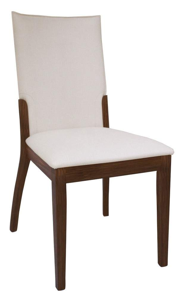 Cream leather upholstered dark walnut hardwood chairs san for Upholstered dining chairs contemporary