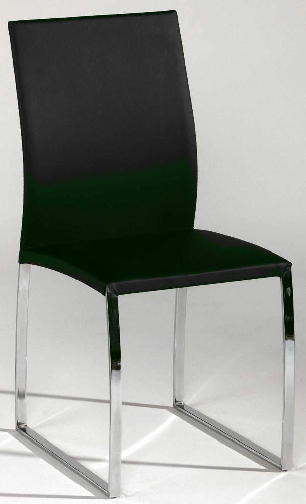Black Or Taupe Leather Dining Chair With Brilliant Chrome Base Seattle Washin