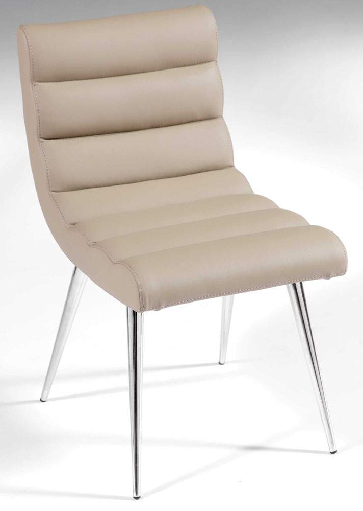 Comfortable Wavy Back And Seat Chair In Taupe Leather