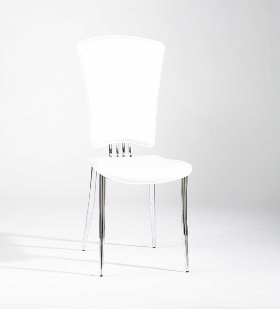 Contemporary Dining Chairs Dinette Furniture White Or Black Leather With Chrome Legs And High Back