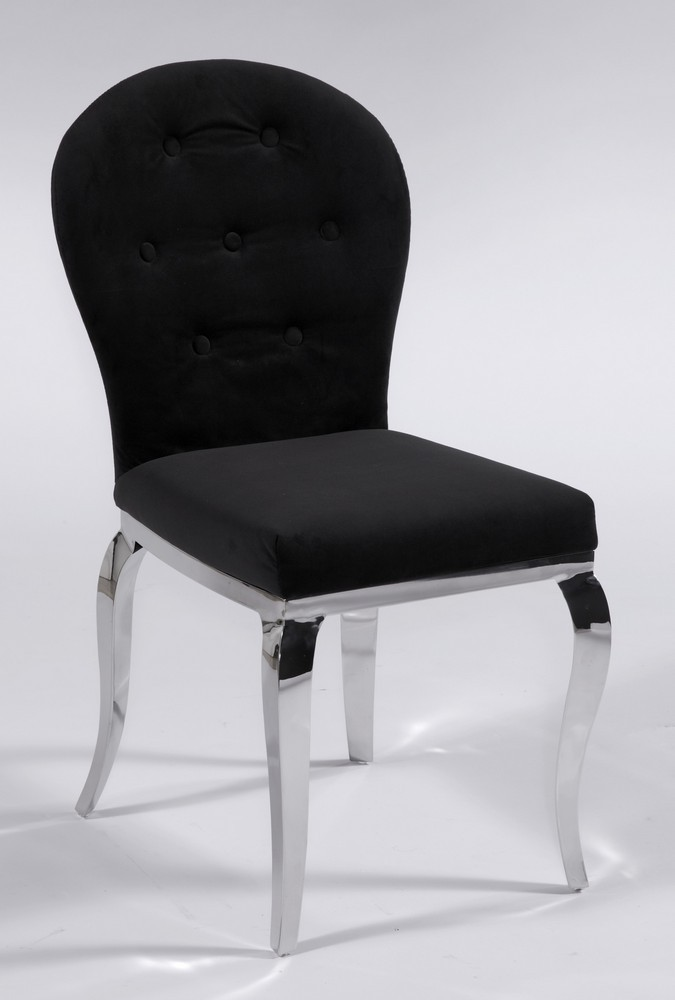 Sensational Black Microfiber Seat And Back Chair With Chrome Legs Caraccident5 Cool Chair Designs And Ideas Caraccident5Info