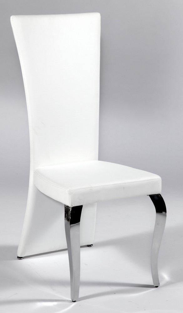 Contemporary Dining Chairs Dinette Furniture White Leather Seat And Back Chair With Polished Chrome Legs