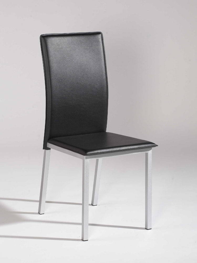 Simple design black leather dining chair with silver legs for Black leather dining chairs