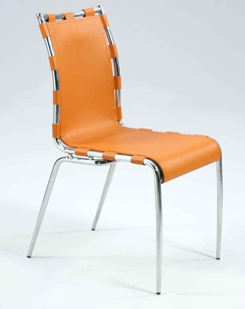 Orange Or Black Leather Dining Chairs With Strap Sides
