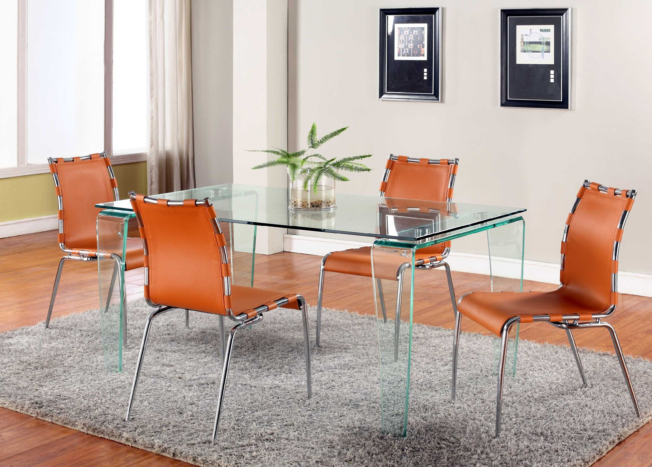 Orange Or Black Leather Dining Chairs With Strap Sides Detroit Michigan CHVER