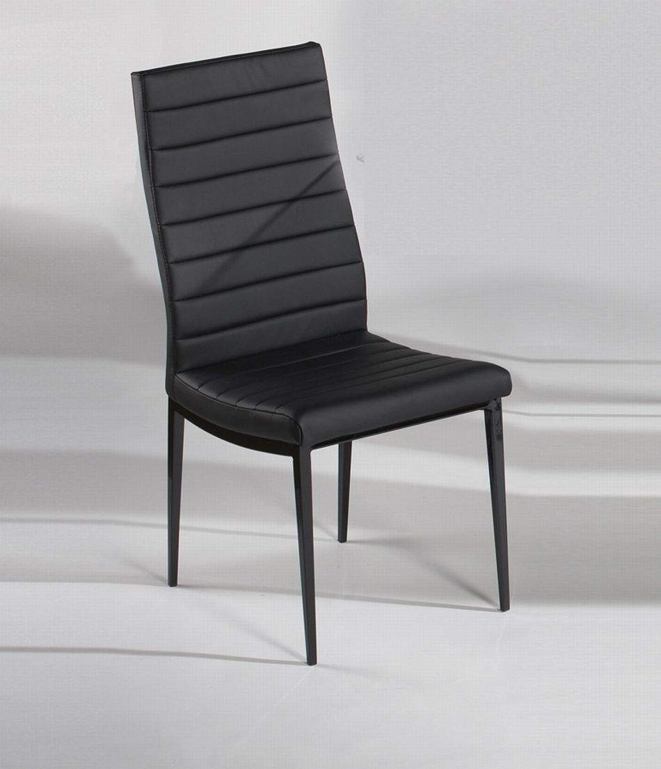Black Dining Chair With Wave Design And Leather Upholstery