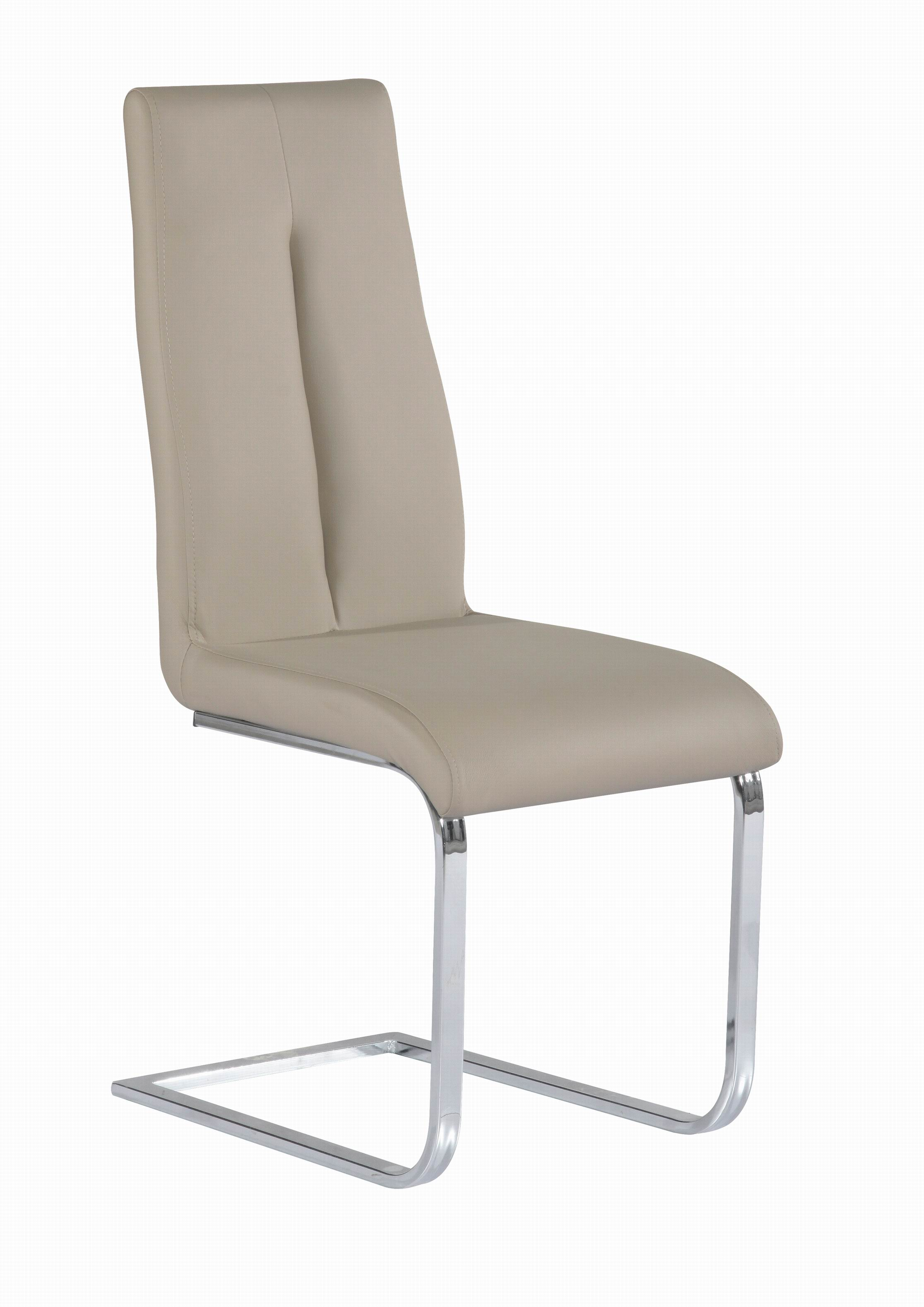 Comfortable Taupe Upholstered Side Chair With Chrome Frame