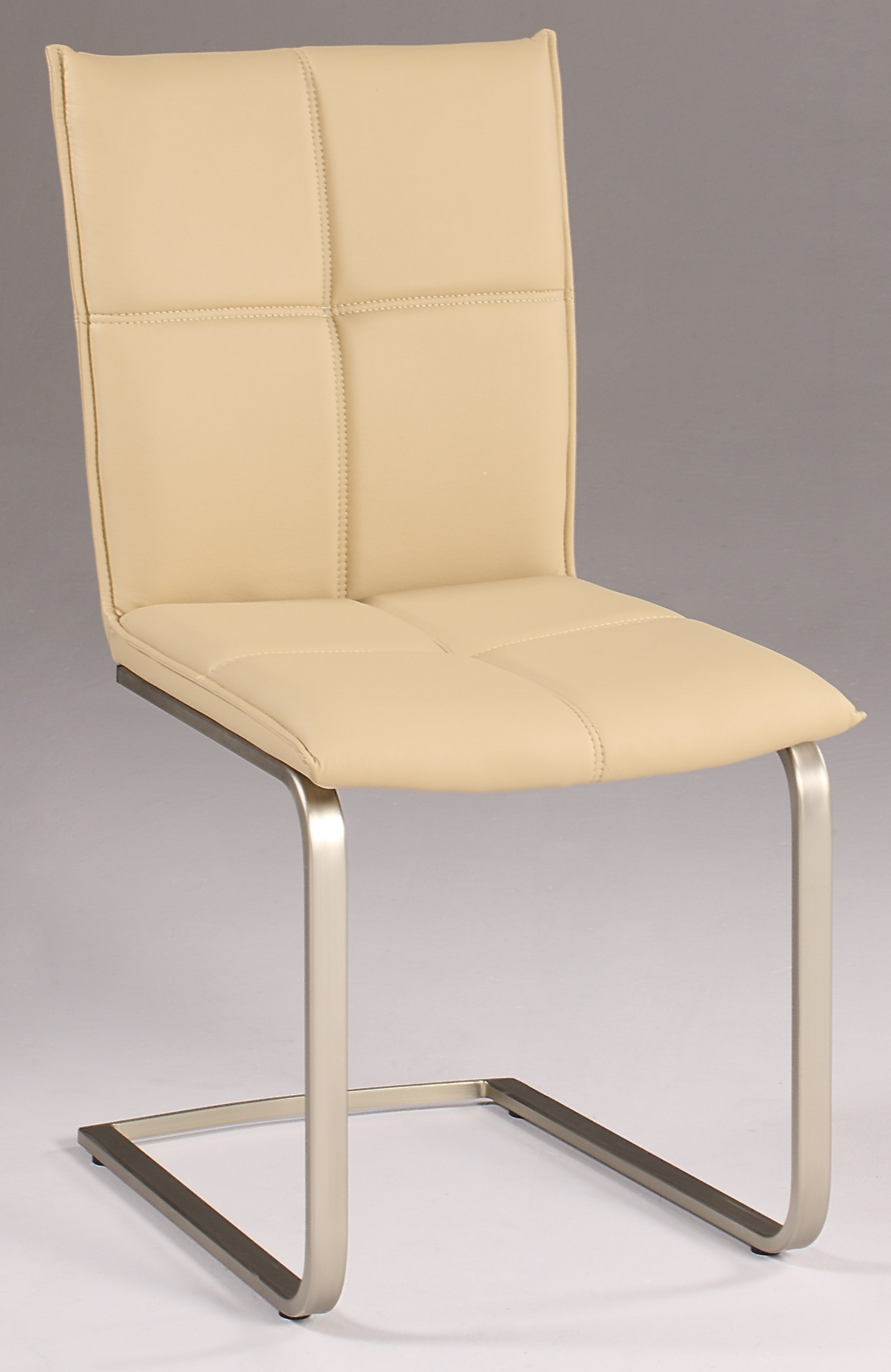 Khaki upholstered contemporary side chair with stitched for Colorful leather dining chairs