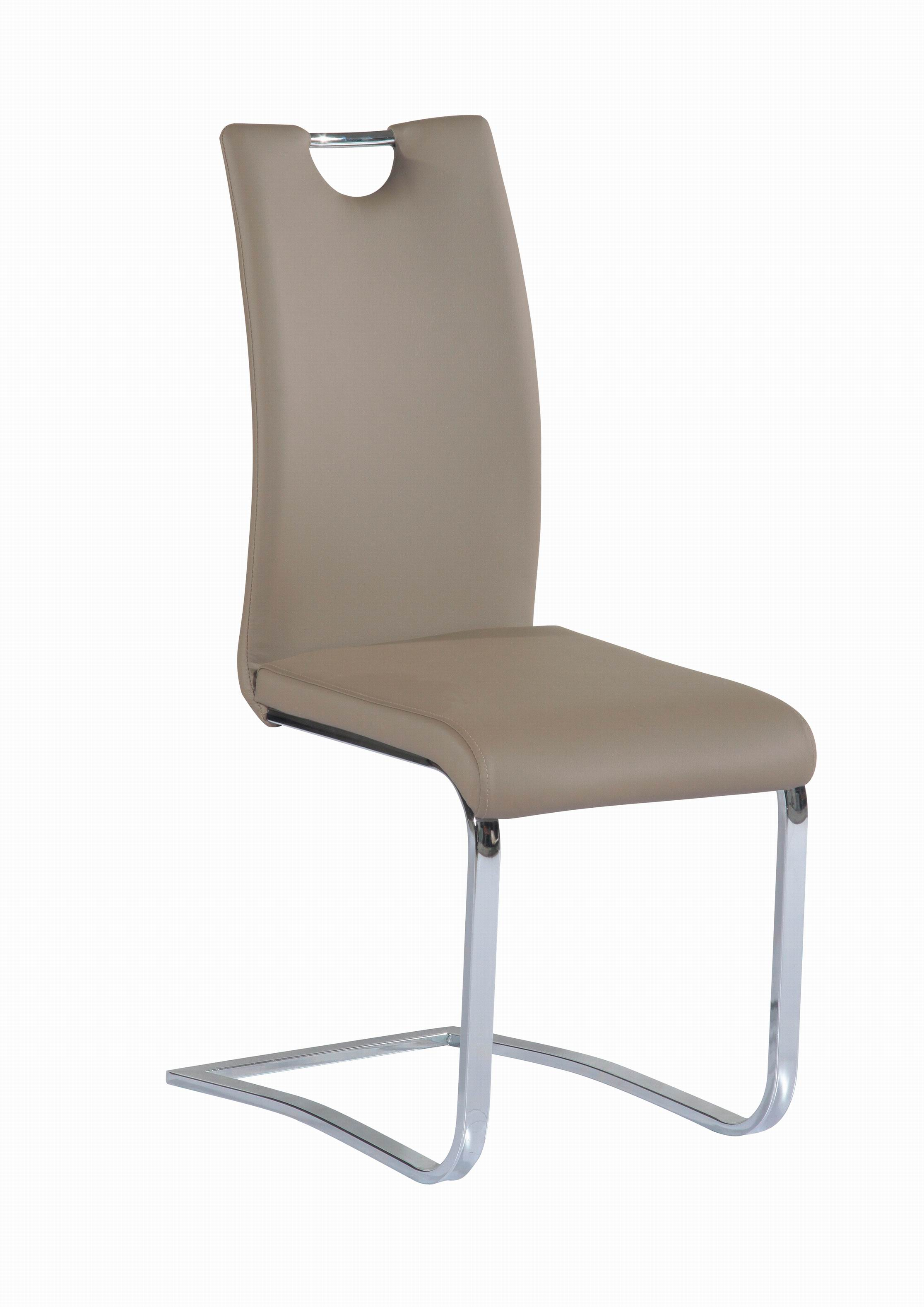 Taupe Upholstered Side Chair With Chrome Frame And Handle