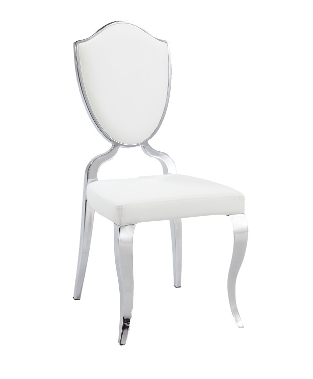 White upholstered side chair with chrome frame and curved for White chrome dining chairs