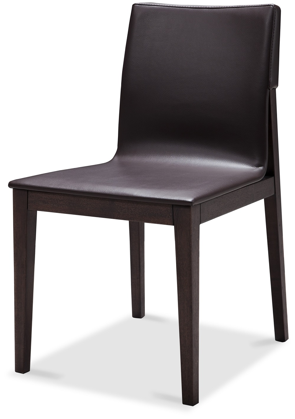Contemporary brown upholstered dining chair with sturdy for Wood and leather dining chair