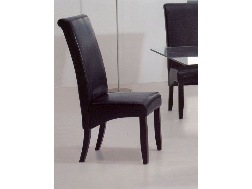 Bossanova contemporary leather dining room chair aurora for Modern leather dining room chairs
