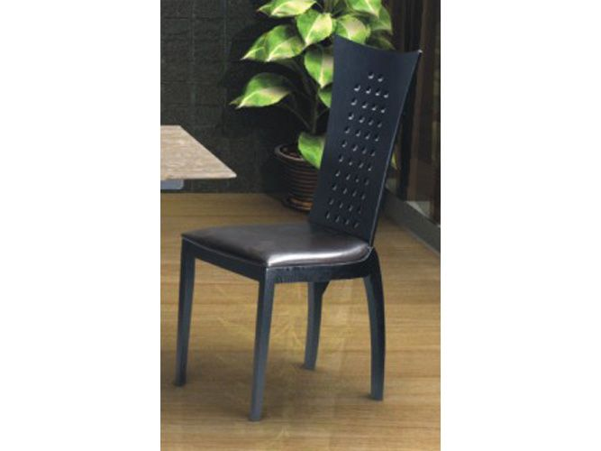 Milanese contemporary black dining chair w holes on the for Contemporary black dining chairs