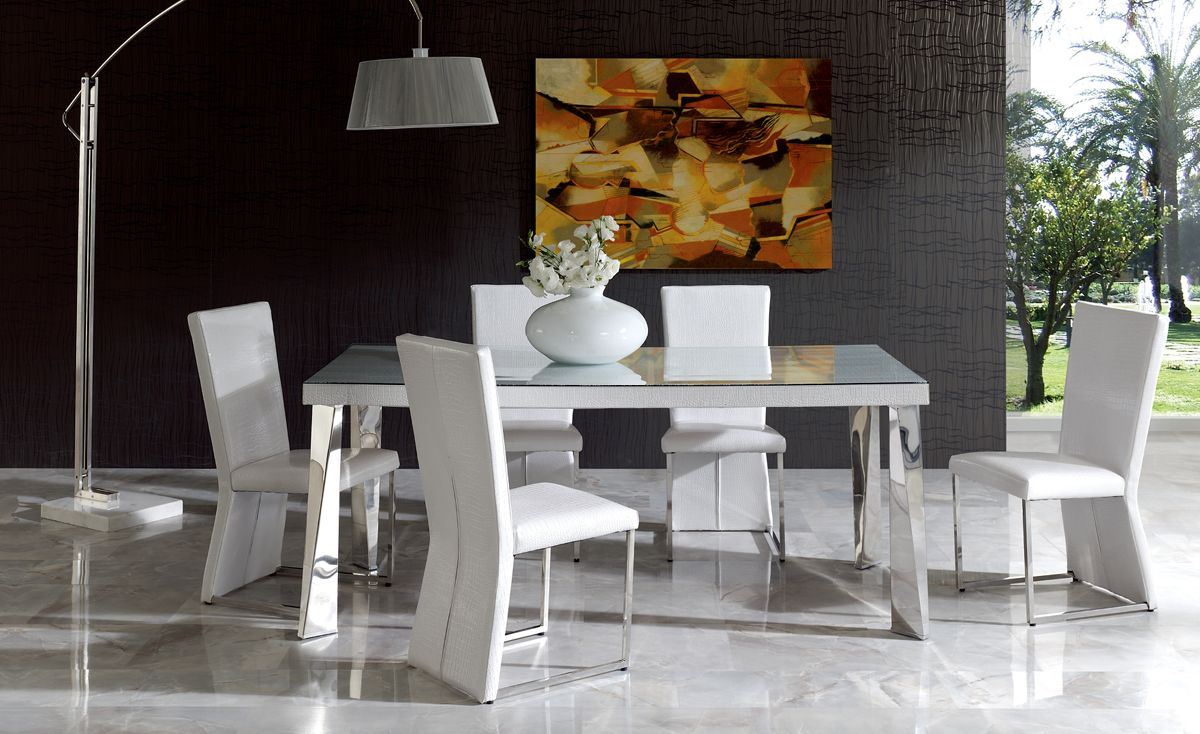 Coco Contemporary Dining Chair In White Eco Leather Crocodile Finish Fremont California Esfcocowhite