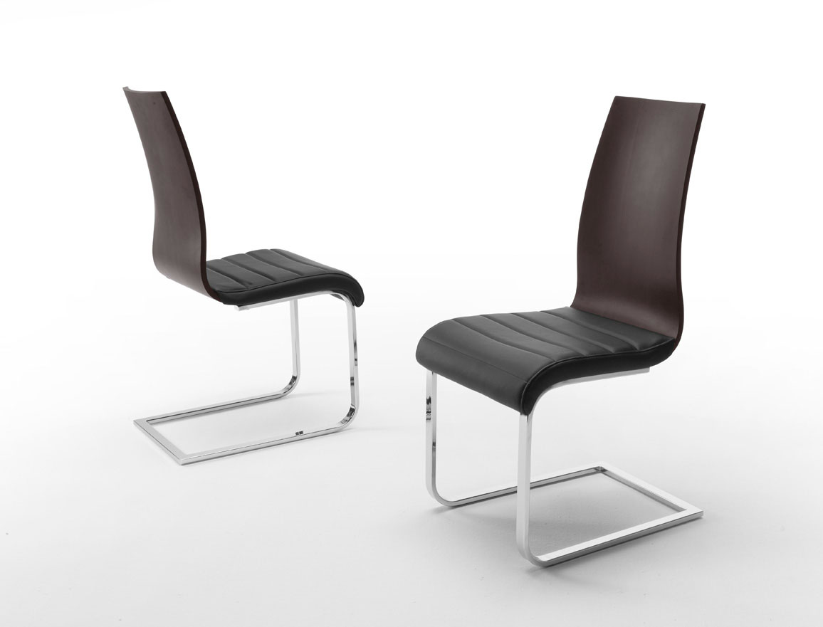 Metal and wood back dining chair with black leather seats for Contemporary furniture chairs