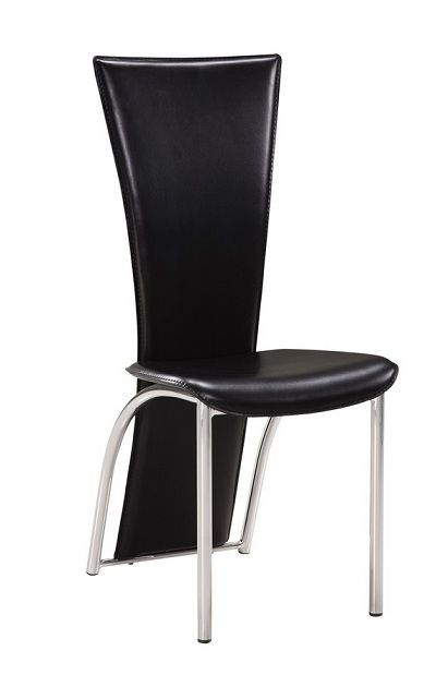 Leatherette High Back Dining Chair With Metal Legs Tampa