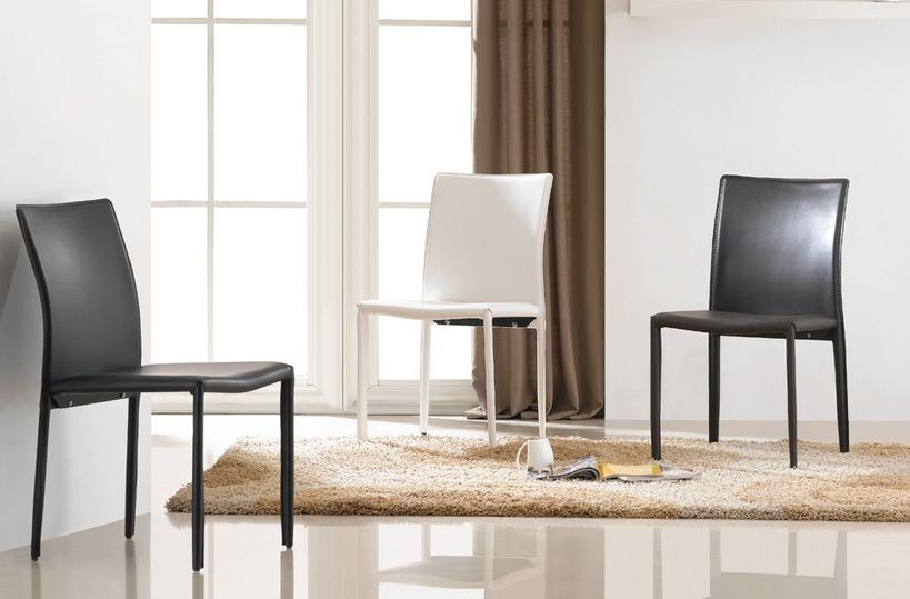 Contemporary leatherette dining chair in black brown or for Contemporary black dining chairs