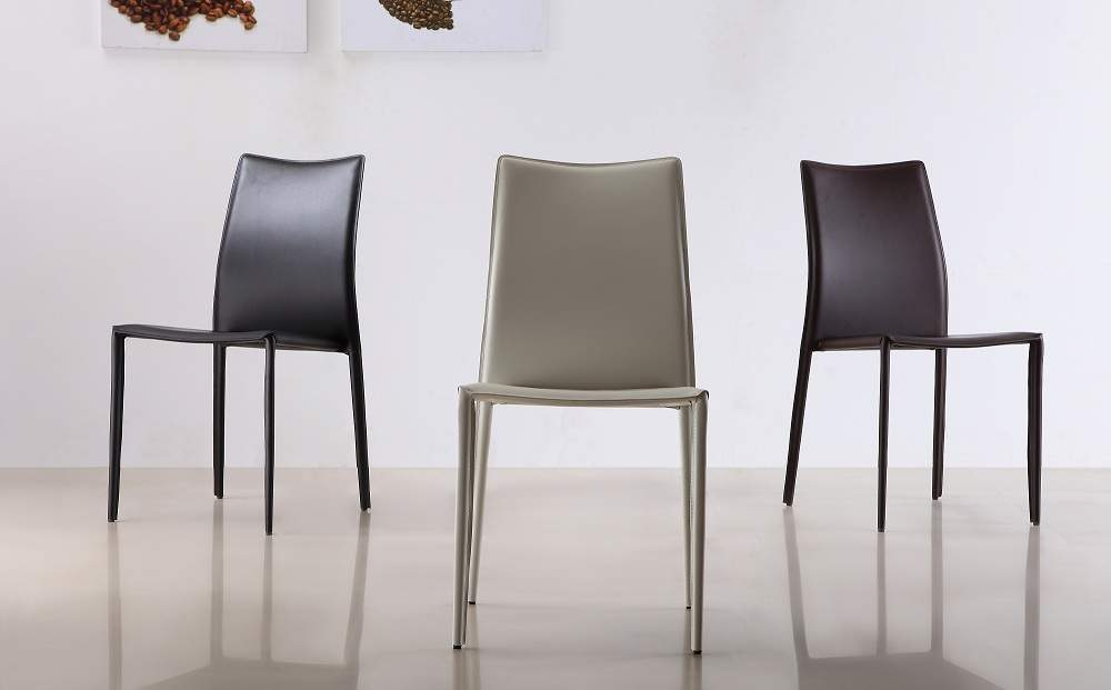 Marengo Leather Contemporary Dining Chair In Black Brown Or White