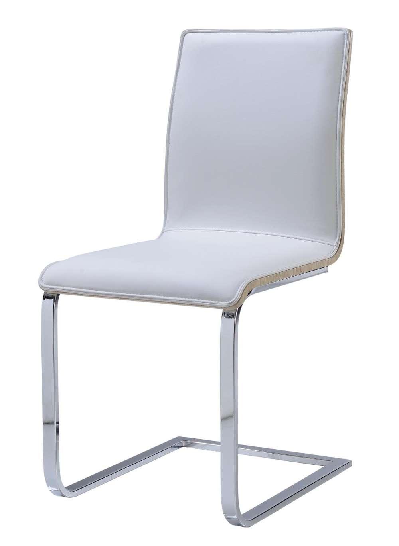 white light oak upholstered dining chair with chrome frame