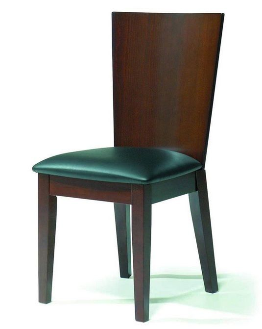 Contemporary dining side chair in walnut with black seat for Contemporary walnut dining chairs