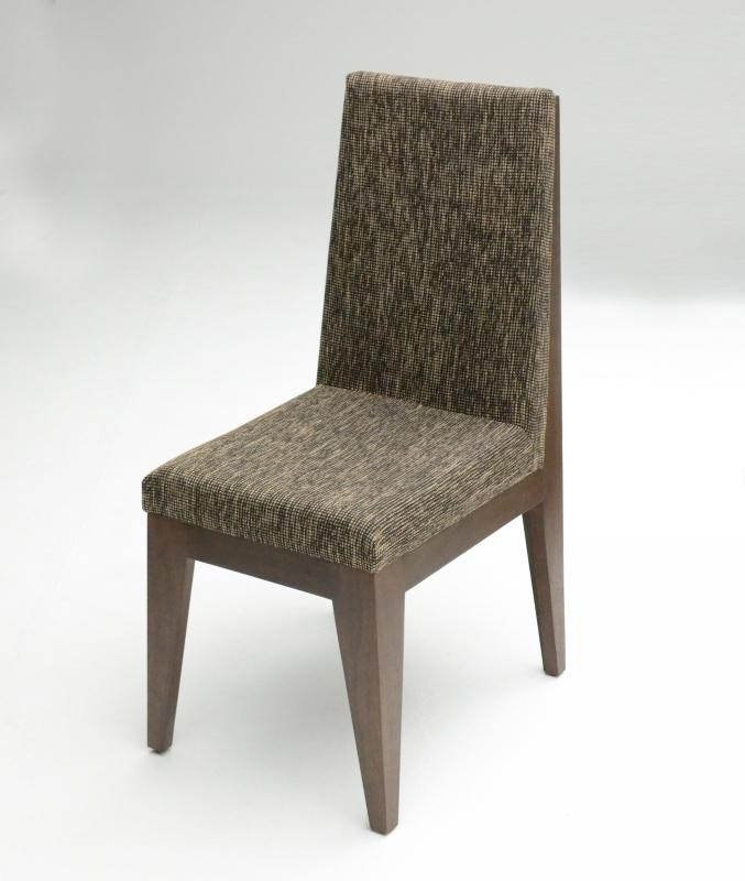 Tobacco wood dining chair with durable fabric seats for Fabric dining room chairs
