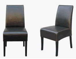 Dark Brown Contemporary Upholstered Leather Dining Chair