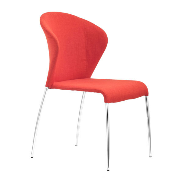 Contemporary Tangerine Or Graphite Fabric Dining Chair