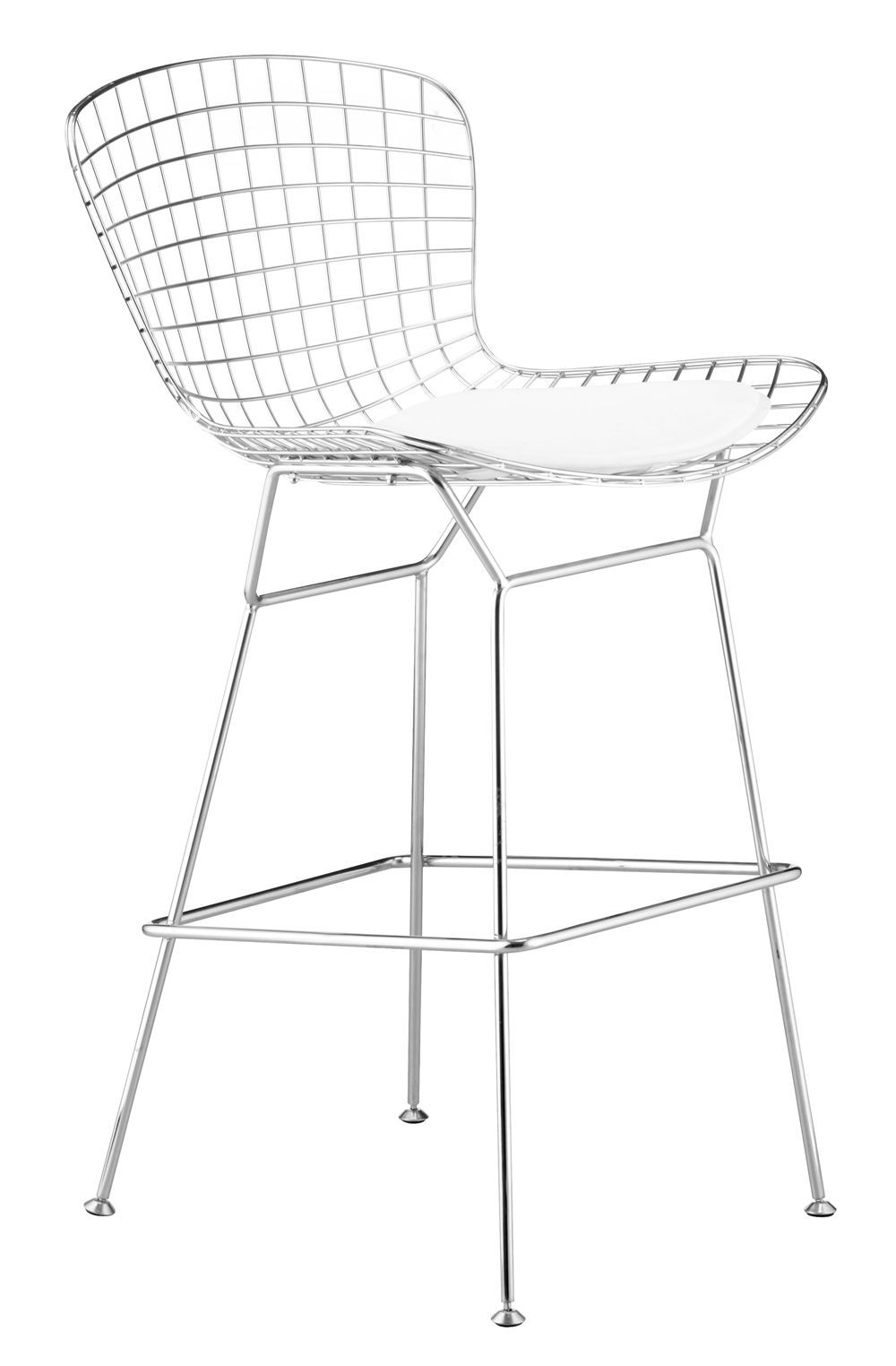 Steel Wire Mesh Bar Chair With Black Or White Leather