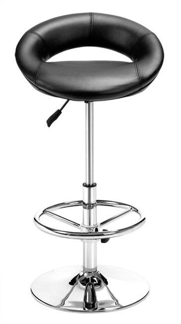 Cowhide Barstools Vintage Black White Hairhide Leather Bar: Leather Pluto Barstool With Chrome Finish With Round Base
