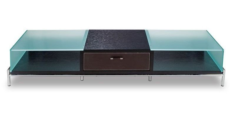 Contemporary Frosted Glass And Wood Tv Stand On Chrome Legs