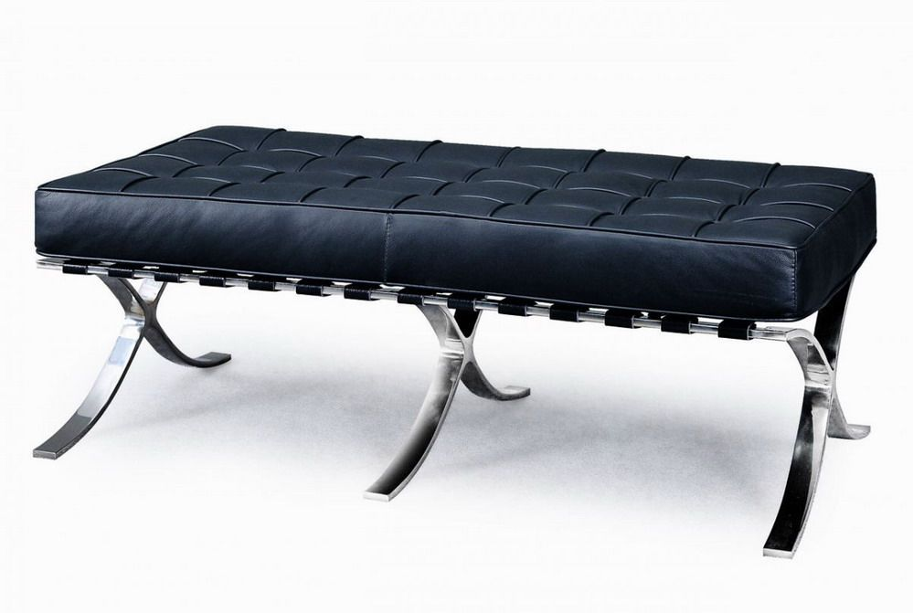 Exposition Famous Design Black Leather Bench Prime Classic Design Modern Italian And Luxury