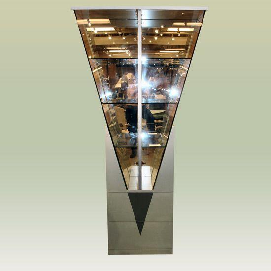 Contemporary Triangle Shape Curio With Three Glass Shelves