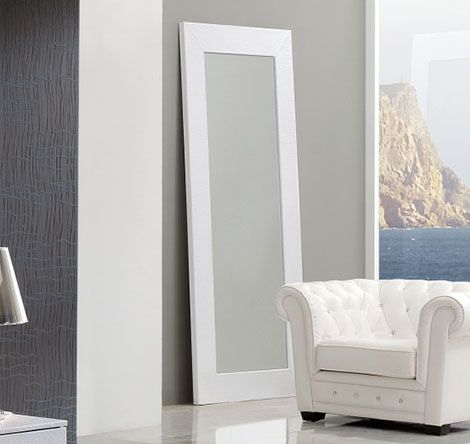 Coco spain made standing floor mirror in white crocodile for Standing mirror for bedroom