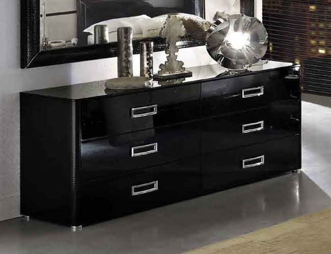 Chic double dresser la star with leather accents prime for Black high gloss bedroom furniture