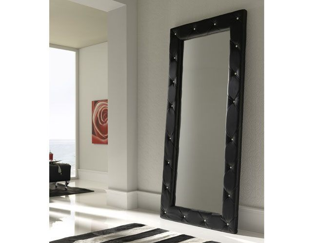 Spain Full Length Eco Leather Upholstered Floor Mirror Prime Classic Design Modern Italian And