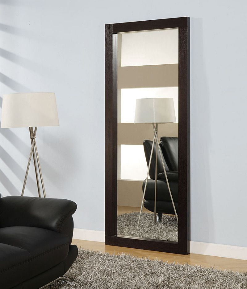Rectangular standing long mirror in wenge wooden frame for Free standing bedroom mirrors