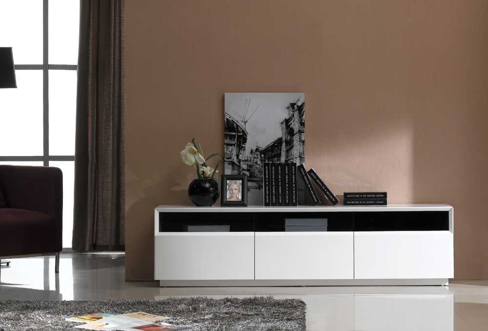 Contemporary TV Stand In Dark Oak Or White Gloss Finish