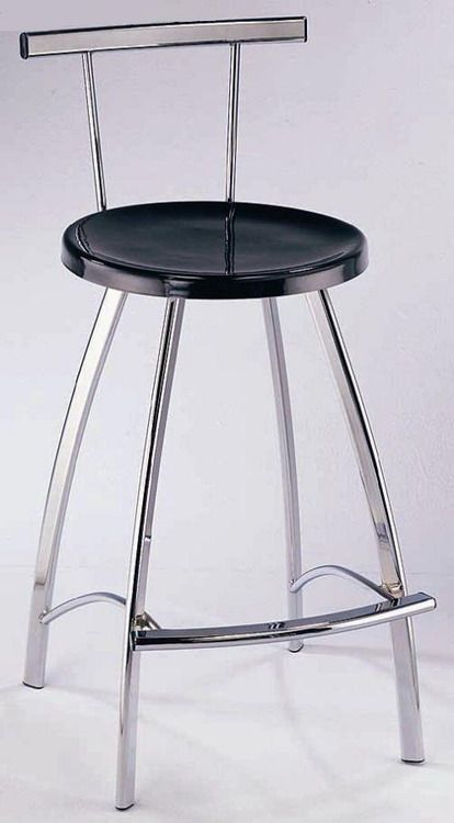 Contemporary Bar Stool With Black Seat And Chrome Legs