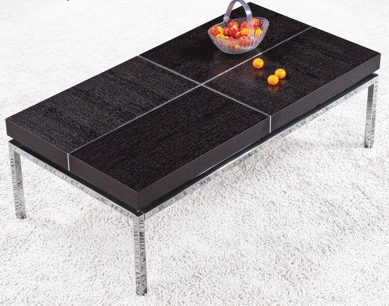 Rectangular coffee table with metal base and wood top for Metal coffee table base